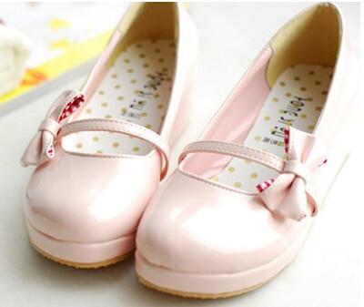ФОТО Lourie sweet bow polka dot single shoes japanned leather small single shoes round toe princess shoes cute flat shoes