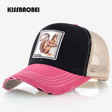 8849731a4cf Squirrel Embroidery Animal Baseball Cap Men Women Snapback Caps Casual  Unisex Hip Hop Hats Breathable Mesh