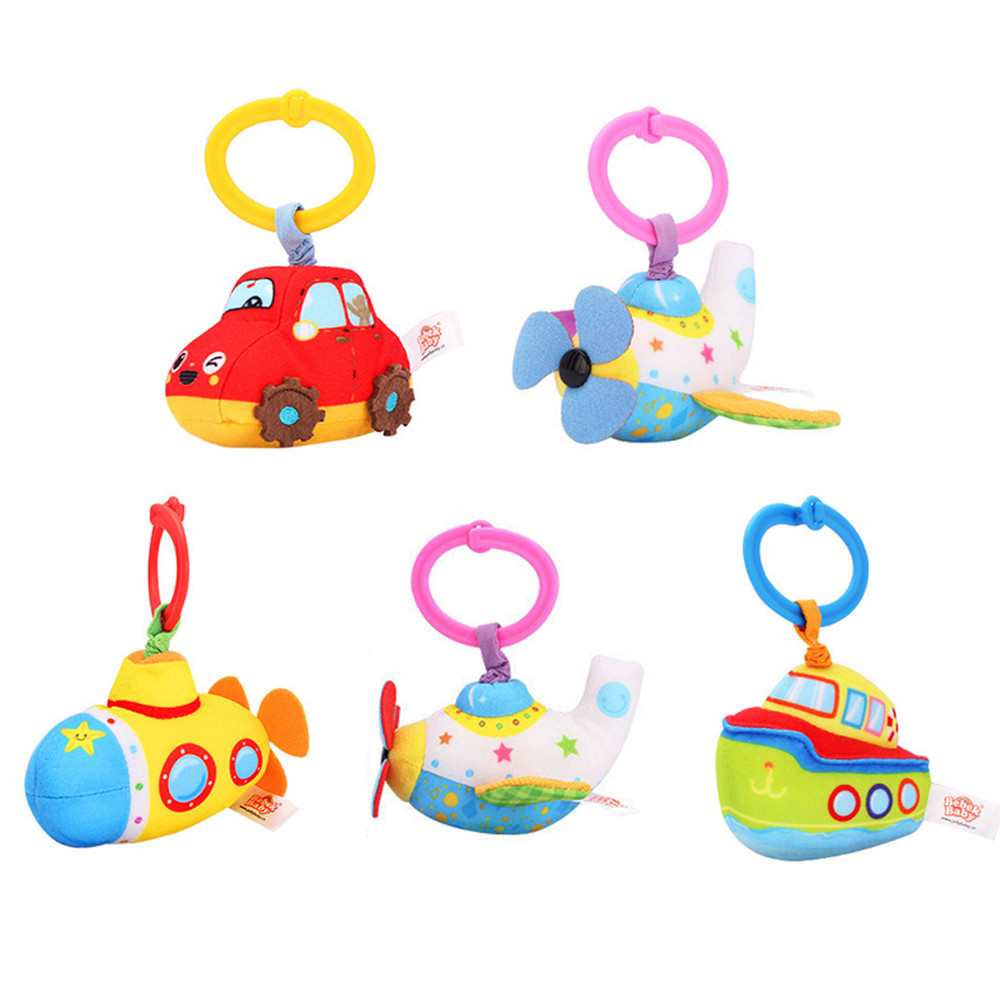 Bebek Baby Plush Rattles Handle Pulling Play Toys Baby Bed Stroller Hanging Bell Mobiles Safety Seat Stroller Educational Toys