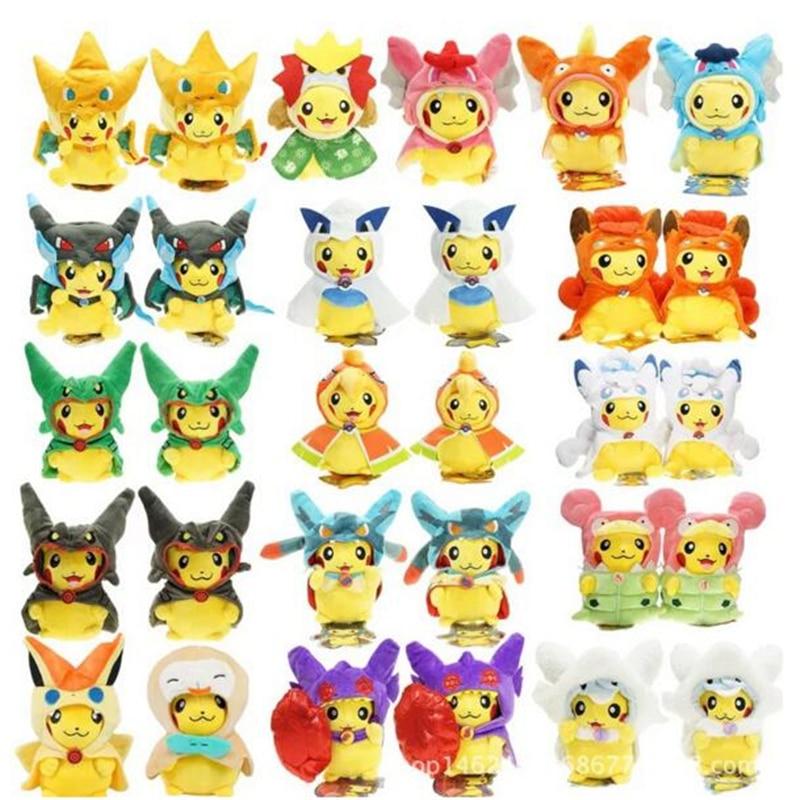 50Pieces Mixed Style Pikachu Cosplay Mega Charizard X Plush Toys Kawaii Pikachu Plush Soft Stuffed Animals