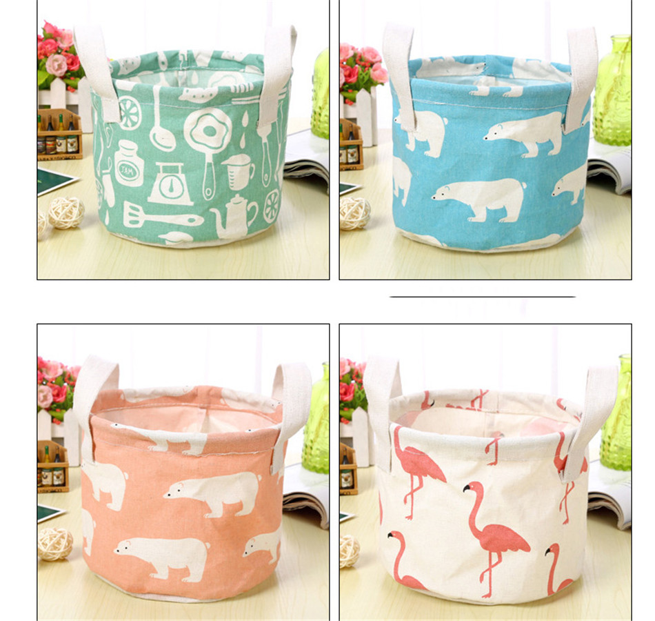Cute Printing Cotton Linen Desktop Round Storage Organizer Sundries Box Cabinet Underwear Jewelry Cosmetic Stationery Basket (3)
