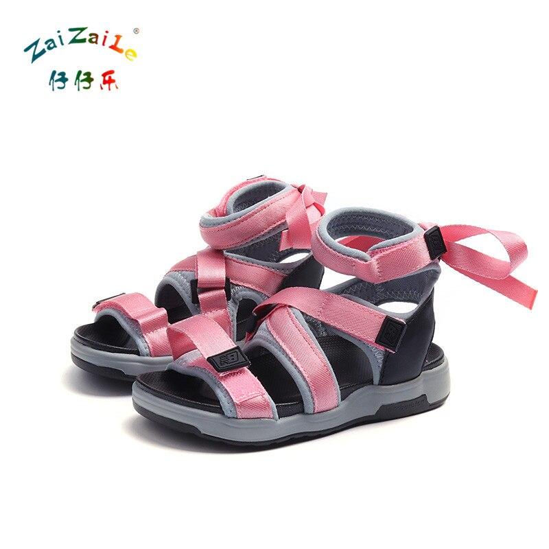Zaizaile 2018 Новое поступление детская обувь из искусственной кожи тканые досуга сандалии мода бантом Grils сандалии розовый черный зеленый Золот...