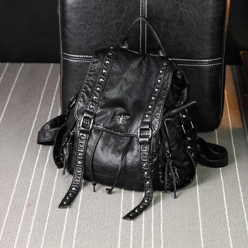 Yeni Kadın Perçin Deri Sırt Çantası anti-hırsızlık Kadın Büyük Kapasiteli Bayanlar Geri Paketi okul çantası Genç Kızlar için 2019
