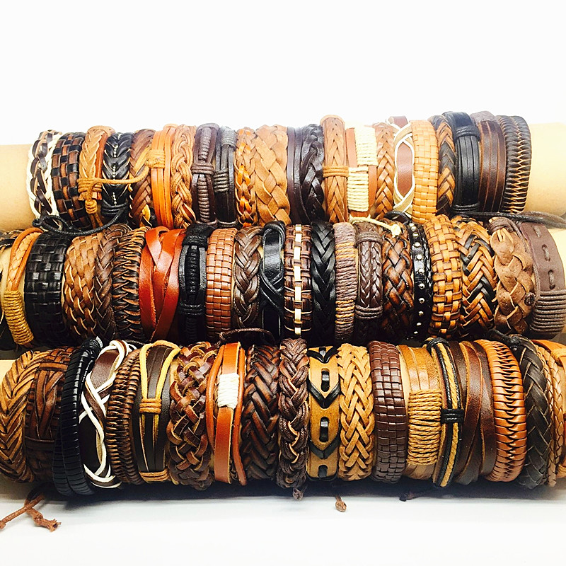 MIXMAX 30pcs cuff men leather bracelet black brown mix unisex vintage retro handmade wristband Genuine surfer bangle Jewelry