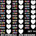 Custom Body Art Airbrush Nail Art Templates Stencil Set 14 with 20 Stencil Template Design Sheets 320 Designs