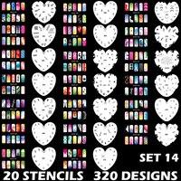 Custom Body Art Airbrush Nail Art Templates Stencil Set 14 with 20 Stencil Template Design Sheets 320 Designs