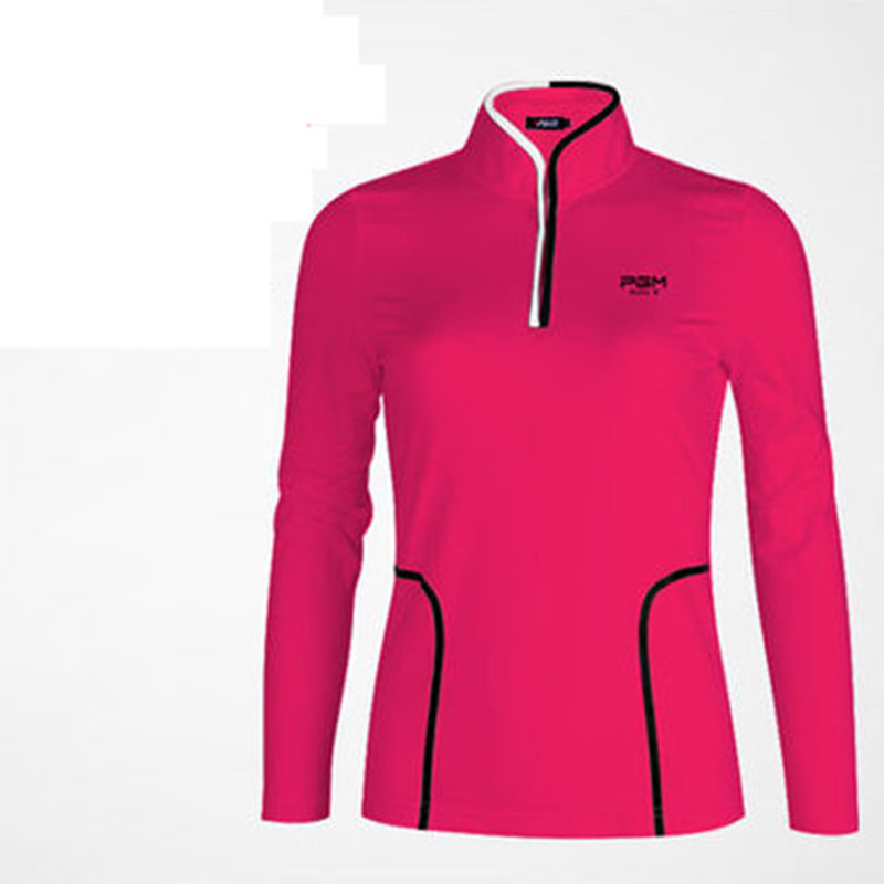 Camisetas Mujer Polo 2018 Spring New Golf Clothing Pgm Sports Collar Long Sleeve T-shirt Three-dimensional Cut To Show The Body 2017 pgm new golf men s clothing polo shirt quick dry breathable fabric soft game with the paragraph 4 color 059