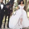 Robe de mariage Sereia Vestidos de Casamento 2017 com Trem Destacável Cap Mangas Com Decote Em V Do Vestido de Casamento Apliques Vestidos de noiva