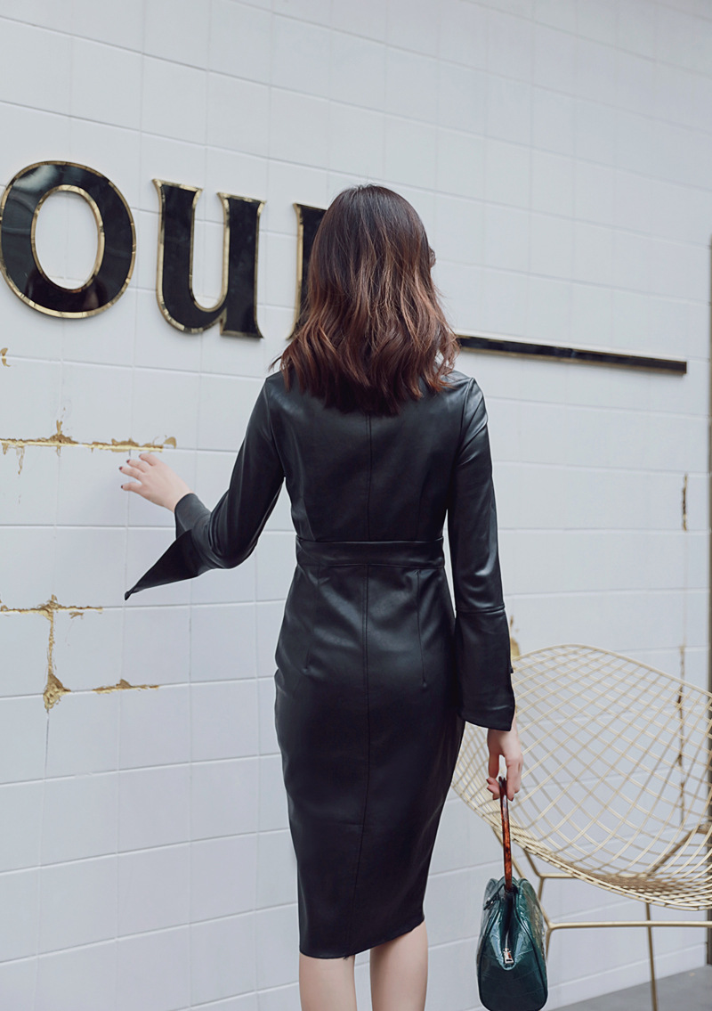 Autumn Black PU Zipper Sheath Dresses V Neck Long Sleeve Bodycon Dress Women Office Sexy Party Synthetic Leather Dresses Vestido 11