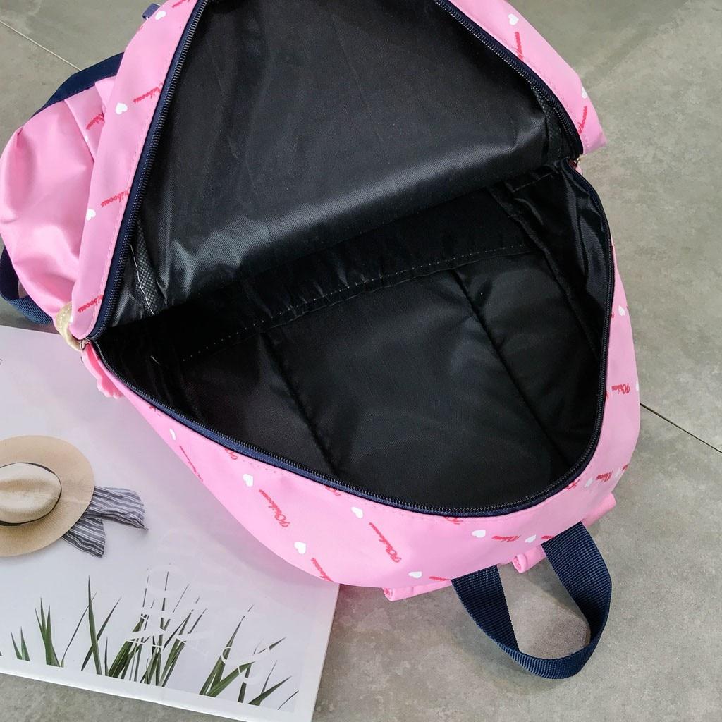 Women Bow Canvas Three-piece School Bag 4
