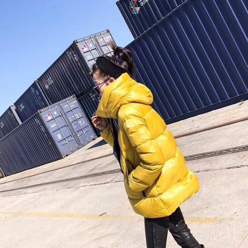 Nouvelle Mince Capuchon Mode Femelle Occasionnel Pain Parkas yellow Duvet Veste En Survêtement Vêtements Chaud Black Manteau 2018 À Lumineux Pr513 Européenne Hiver 8vxqqZE