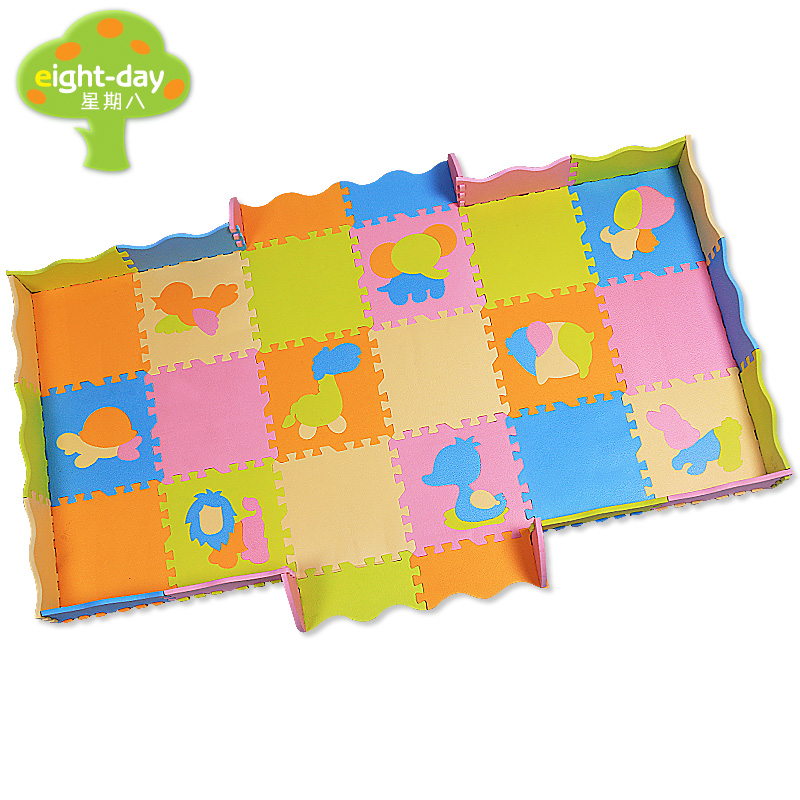 цена на eight-day Animal Style Puzzle PE Foam Mat Children Crawling Play Mat Kids Game Mats Gym Soft Floor Game Carpet 18 pcs 30x30cm