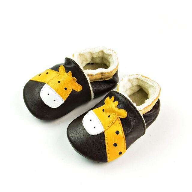 2017 Winter Genuine Leather Baby Moccasins Giraffe Pattern Warm Toddler Boy Shoes Dark Brown soft sole boys girls shoes