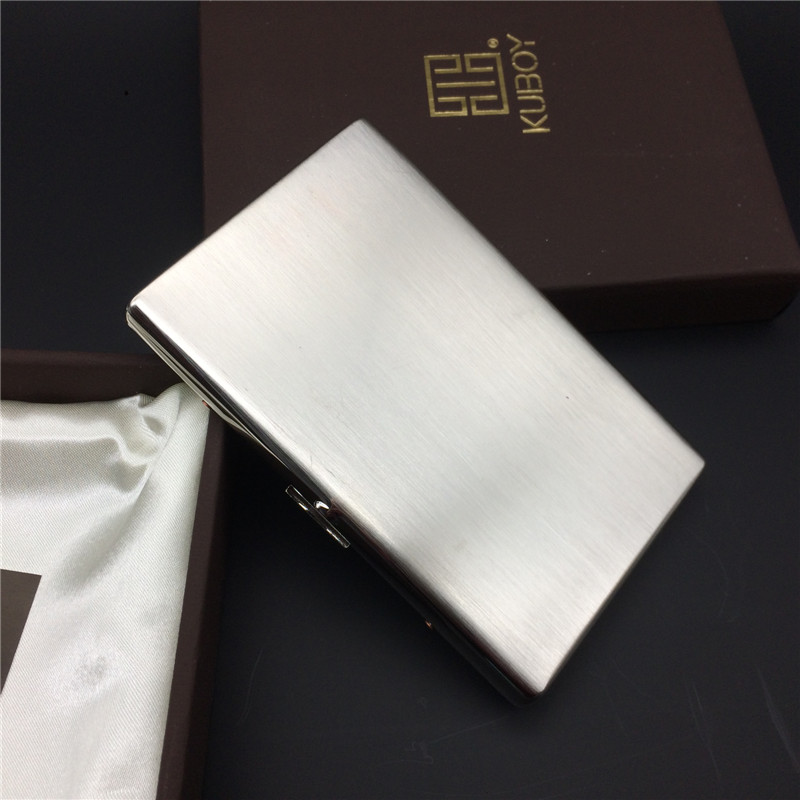 KC5 01 1 Cm Ultra Thin Stainless Steel 304 100mm's Slim Portable Cigarette Case Metal Cigarette Box Smoking Accessory|Cigarette Accessories| |  - title=