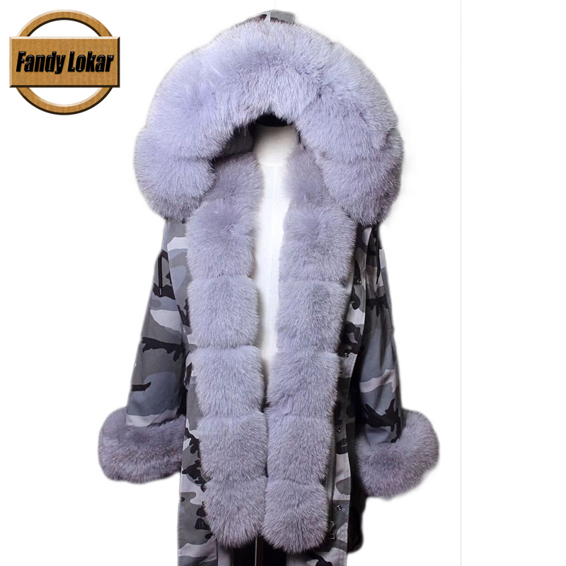Fur Parka Women Winter Real Fox Collar Hooded Rexrabbit Lining Female Warm Jacket Coats Camouflage Parkas