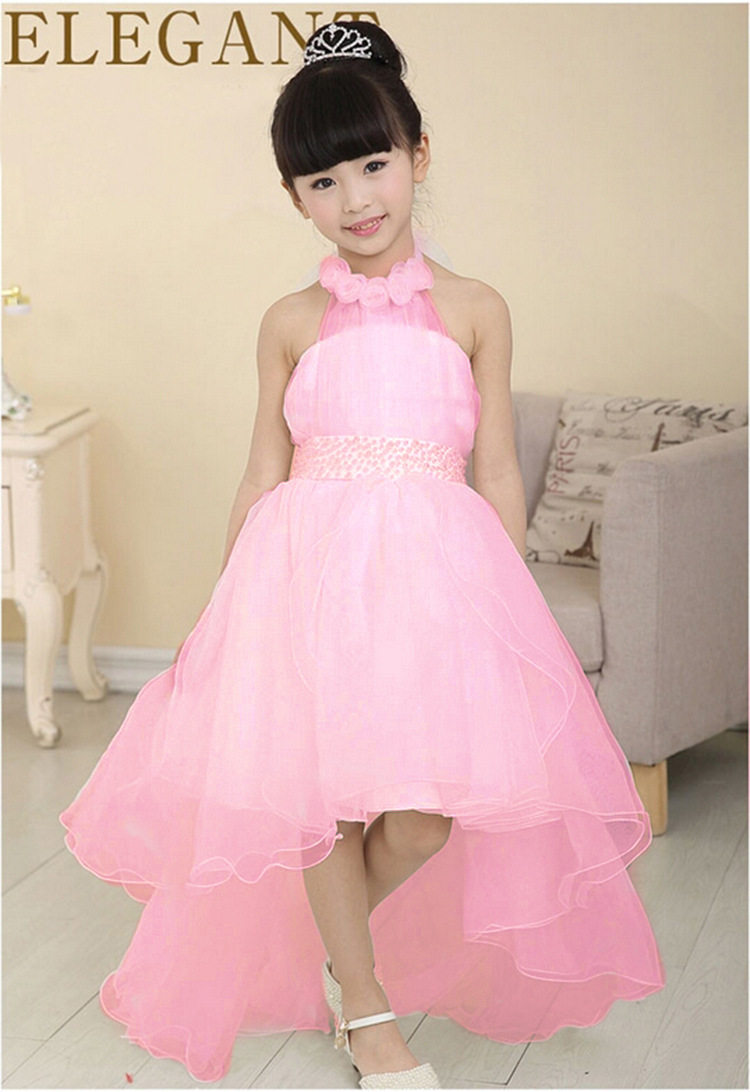2015 New Gilrs Pearls Wedding Dress Short Front Long Back Ball Gown ...