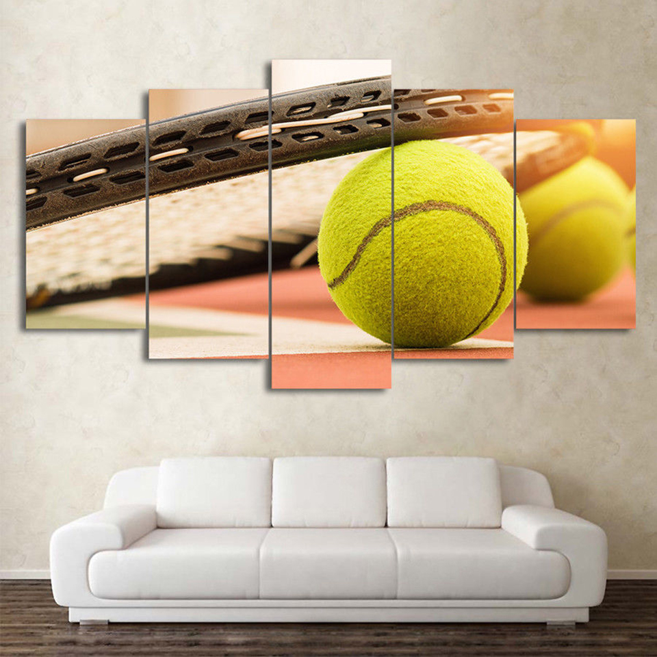 Framework Pictures Home Modular 5 Piece Sports Tennis Rackets Tennis Ball Canvas Painting Wall For Living Room Modern Type Decor