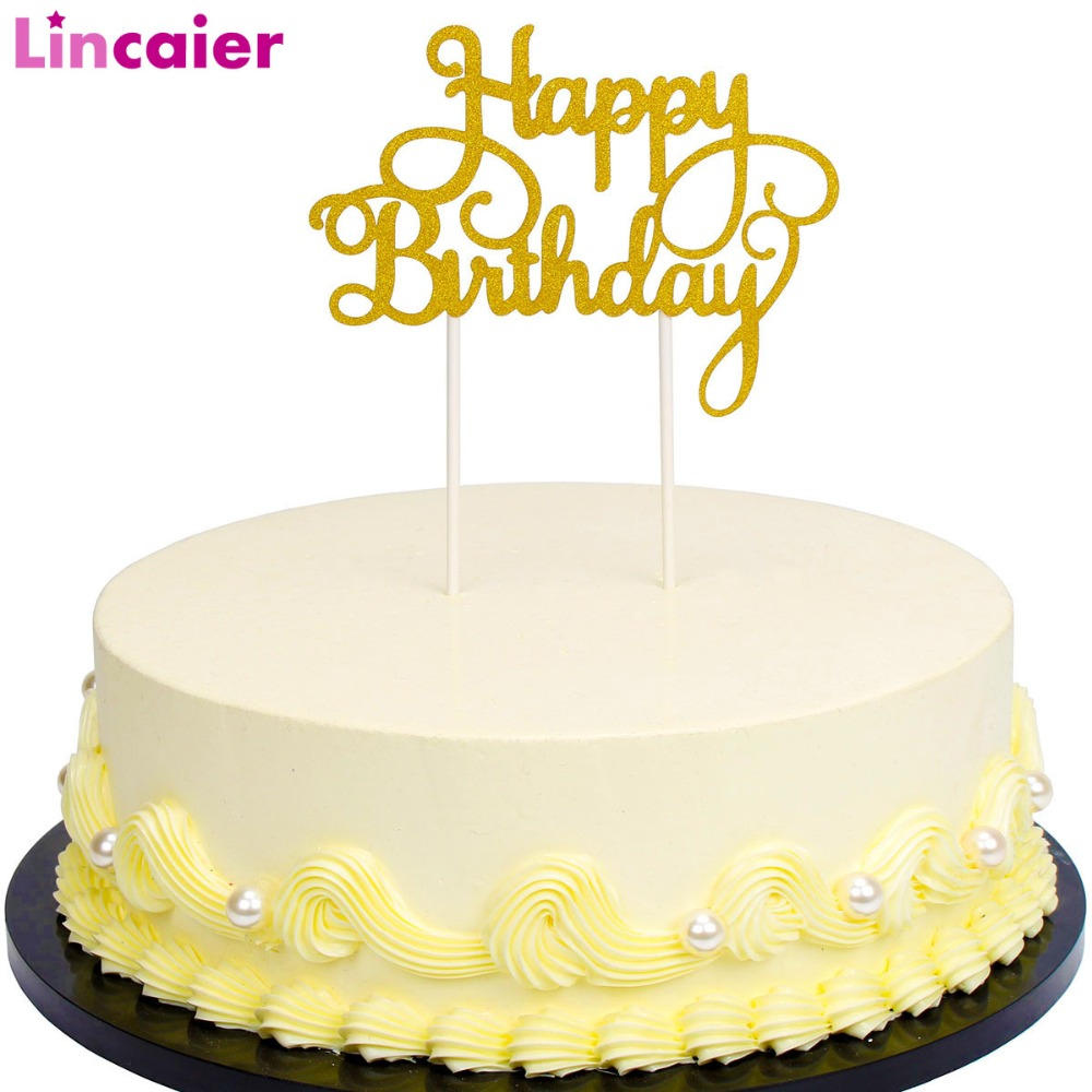 Lincaier Gold Silver Glitter Script Happy Birthday Cake Toppers Baby Boy Girl Kids Birthday Party Decoration Favors Adult Supply-in Banners, Streamers & Confetti from Home & Garden