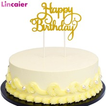 Lincaier Gold Silver Glitter Script Happy Birthday Cake Toppers Baby Boy Girl Kids Birthday Party Decoration Favors Adult Supply