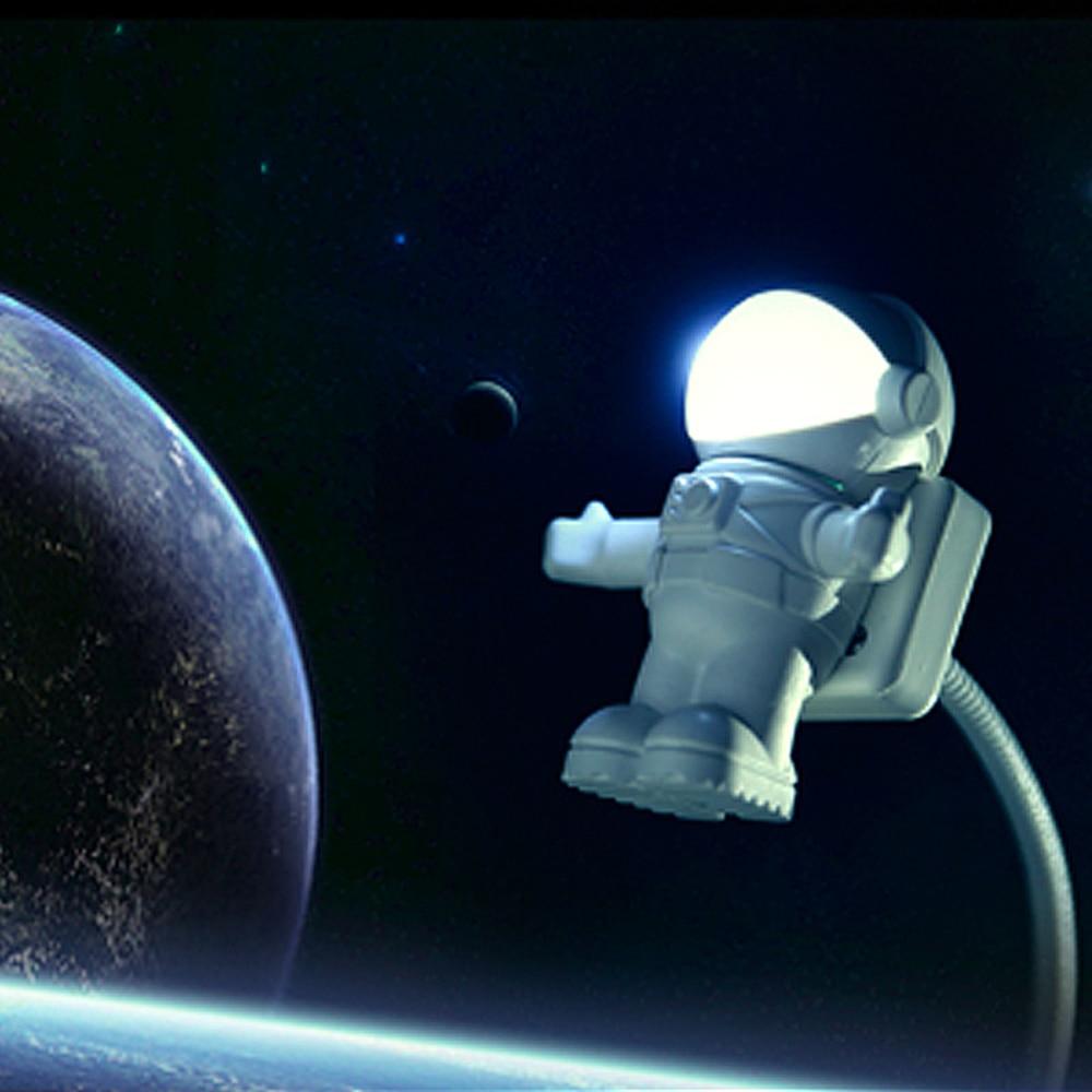 Mini Astronaut Spaceman USB LED Adjustable Night Light For Computer PC Lamp Desk Light Pure White