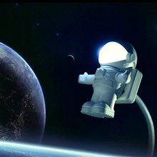Mini Astronaut Spaceman USB LED Adjustable Night Light For Computer PC Lamp Desk Light Pure White