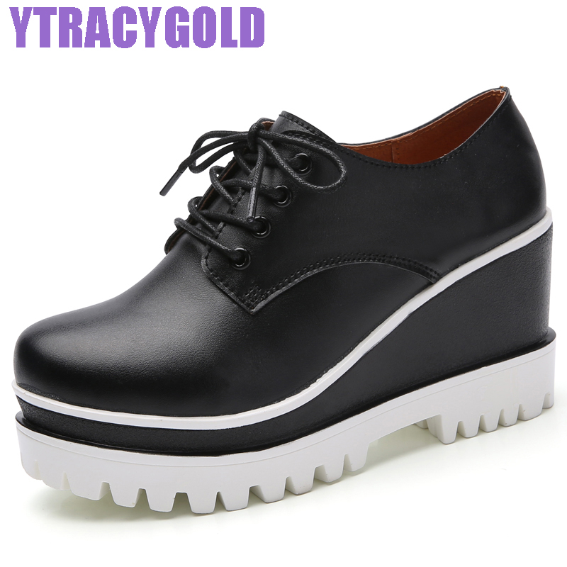 YTracyGold 2017 Women Wedge Platform Shoes Woman Brogue Patent Leather Flats Lace Up Creepers Female Flat Oxford Shoes For Women phyanic creepers 2017 leisure lace up silver platform shoes woman loafers fashion flats women brogue shoes 3 colors xdy4257