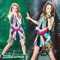 2016 Rainbow Sequins Tassel Estrelas Vestido Cantor Palco Trajes Vestidos Para O Dançarino