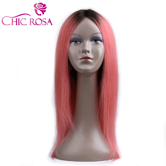 Chic Rosa Pre Colored T1bpink Remy Straight Hair Wig Pink Ombre