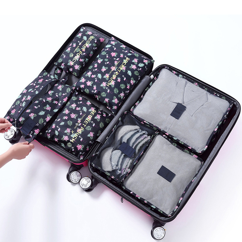 Image 4 - RUPUTIN 7Pcs/set Trip Luggage Organizer Clothes Finishing Kit Storage Bag Cosmetic toiletrie Storage Bag Home Travel Accessories-in Travel Accessories from Luggage & Bags
