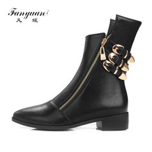 цена на Fanyuan Women Martin Motorcycle Boots Cool Buckle Zipper Pointed Toe Shoes Woman Chunky Heel Short Ankle Boots Big Size 34-44
