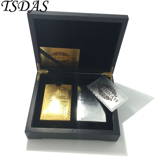 luxury new year gift 24k gold poker card gold plated golden silver 500 euro 2pcs gold playing card pack in wooden case