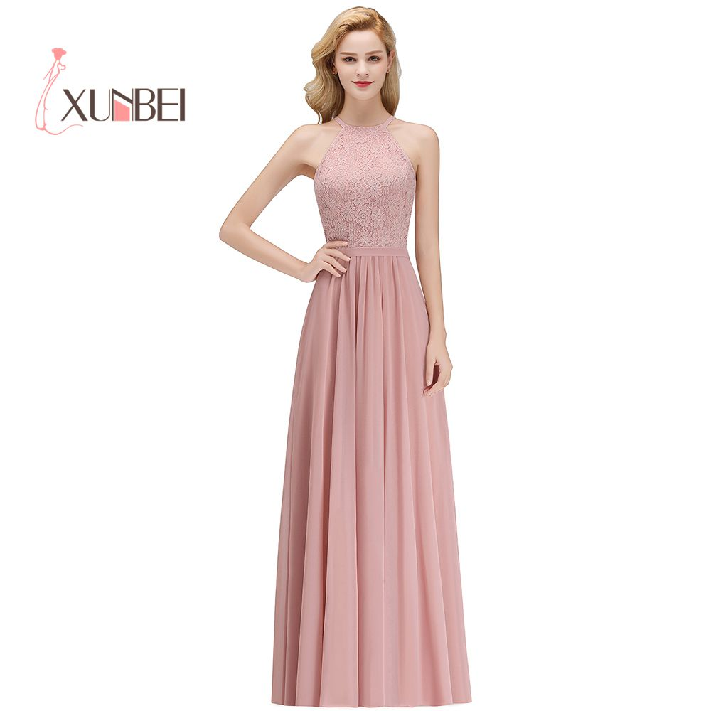 Robe demoiselle d'honneur Sexy Halter Dusty Pink Lace   Bridesmaid     Dresses   Long 2019 A Line Chiffon Prom   Dresses   Party Gowns