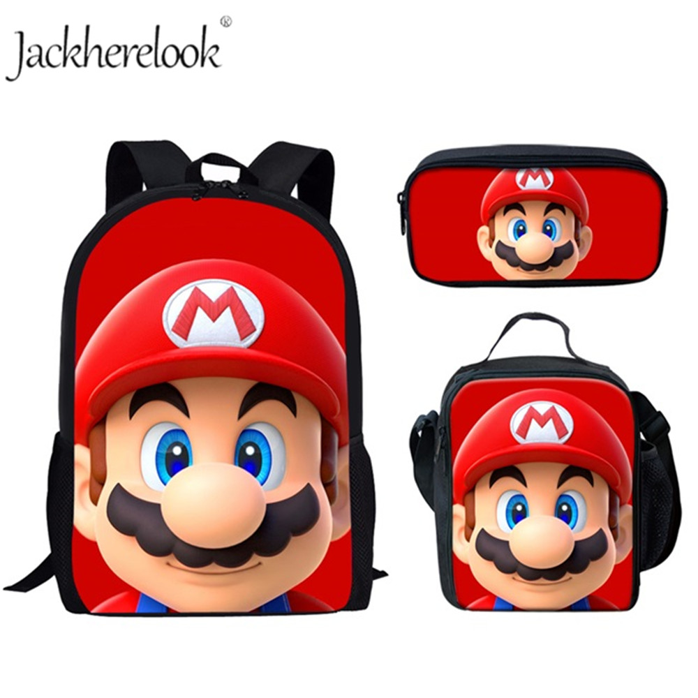Jackherelook Large School Bags Set For Boys Children Backpack Kids Anime Super Mario Bros Printed Primary Mochila School Bagpack
