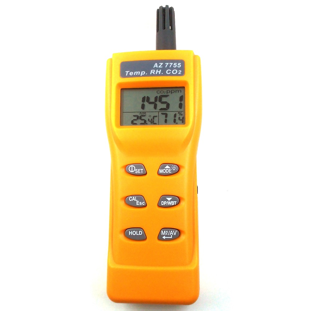 Digital CO2 Tester Air Quality Monitor Gas Analyser CO2 Meter Thermometer Hygrometer Humidity Meter 3-in-1 CO2 Detector AZ7755