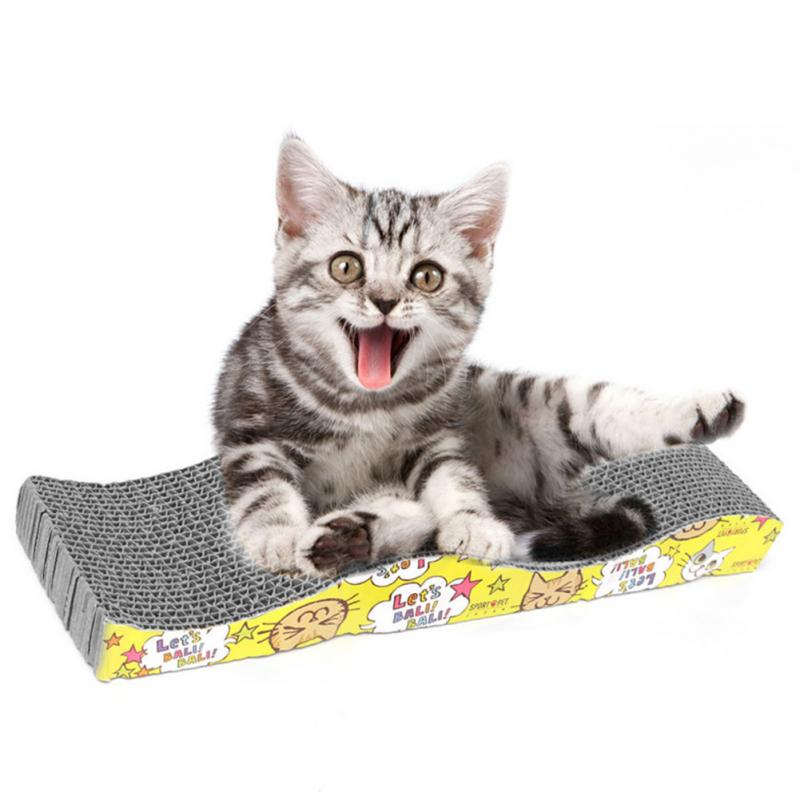 Hot ! 45x11x5cm S-shaped Cat Kitten Corrugated Scratch Board Pad Scratcher Bed Mat Claws Care Interactive Training Cat Pet Toy