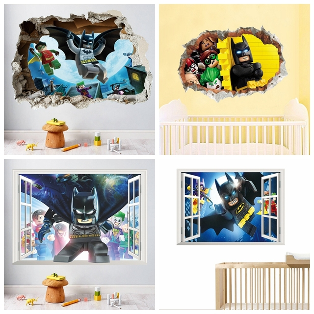Us 4 2 5 Off Lego Batman Super Heros Gebrochen Wandaufkleber Kinderzimmer Dekoration Film 3d Wandbild Kunst Cartoon Avengers Startseite Decals In