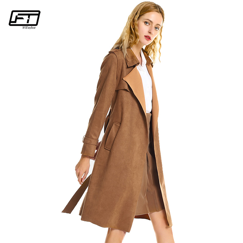 Fitaylor Autumn Winter Turn Down Collar Sash Coat   Suede     Leather   Women Jacket Pocket Windbreaker Elegant Long Sleeve Outwear