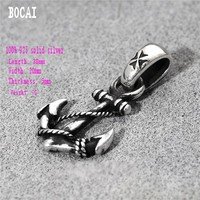 100% solid silver jewelry handmade engraved 925 sterling silver Thai silver anchor hook pendant