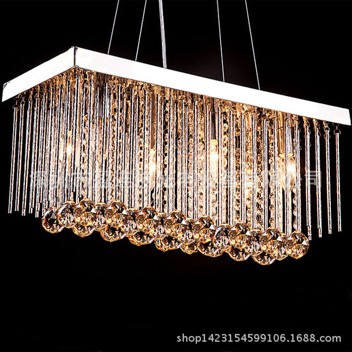 Modern Crystal Chandelier For Dining Room Lamps E14 Crystal Chandeliers Square Lamp Rectangle Living Room Lighting WPL084