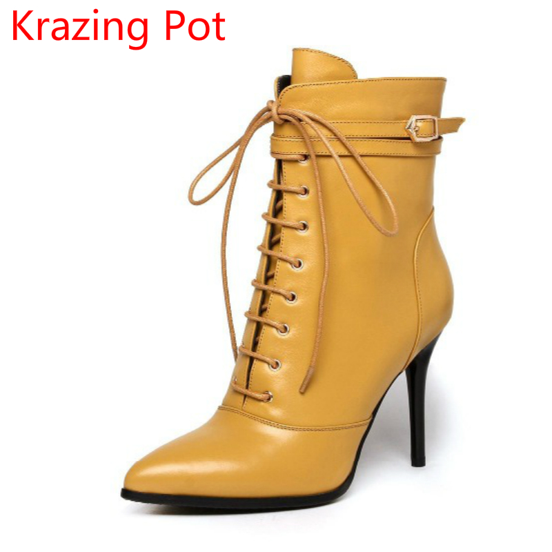 2017 Brand Winter Shoe Yellow Lace Up Pointed Toe Thin High Heels Genuine Leather Runway Style Pointed Toe Women Ankle Boots L78 2018 new arrival fashion winter shoe genuine leather pointed toe high heel handmade party runway zipper women mid calf boots l11