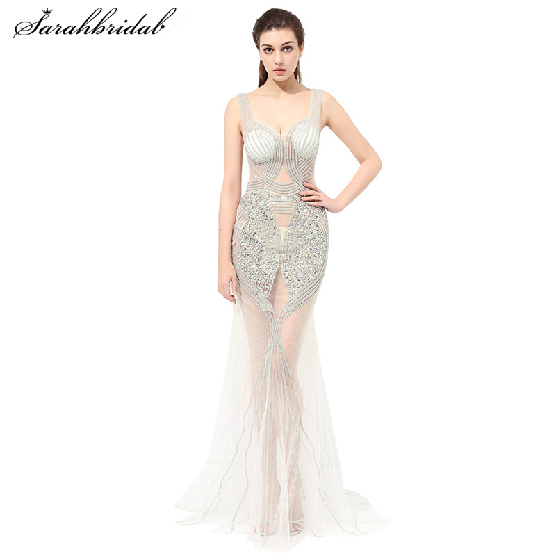 Sexy Formal   Dresses     Evening   Wear with Mermaid Sweetheart Sleeveless Floor Length Crystal Beaded   Evening     Dresses   LSX409