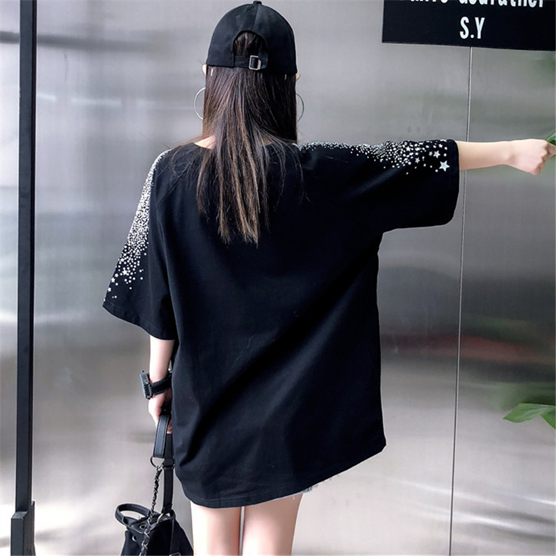 Loose Fashion Five-Pointed Star Dark Printing Short-Sleeved T-Shirt Female 2019 Summer New Round Neck T-Shirt Top H0056 2