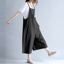 EaseHut  Plus Size Women Cotton Pockets Long Wide Leg Romper