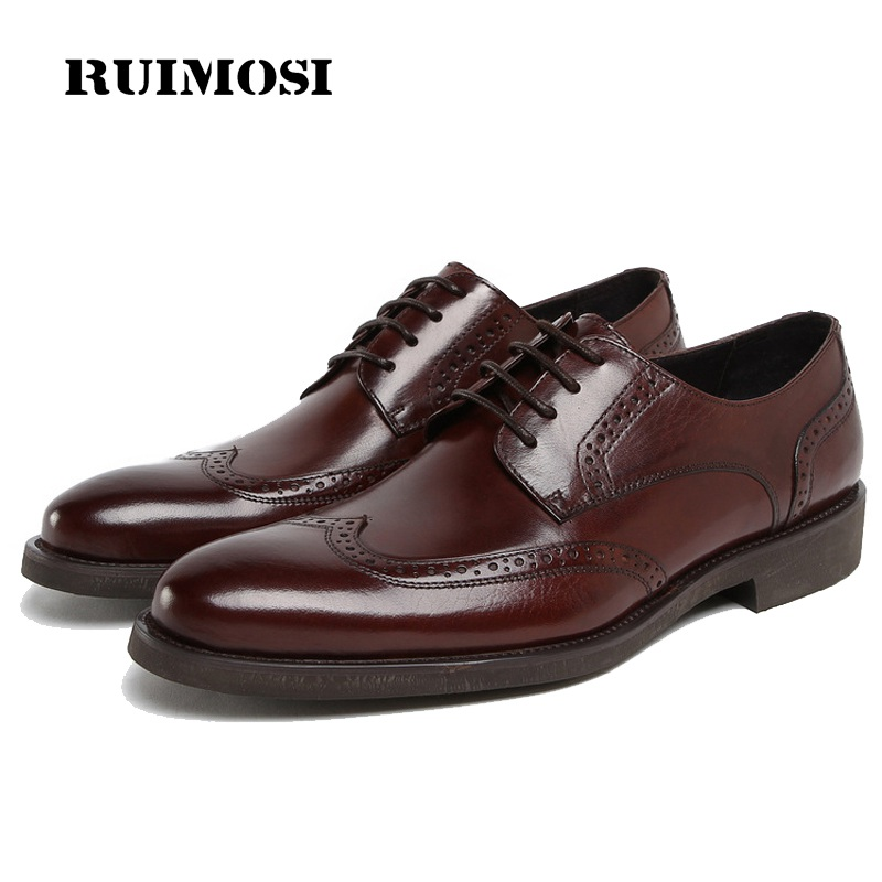 RUIMOSI Designer Brand Platform Man Formal Dress Shoes Vintage Genuine Leather Cow Brogue Oxfords Men's Wing Tip Flats HD72