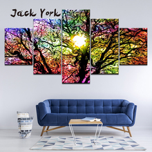 Canvas Painting psychedelic colorful tree trippy art 5 Pieces Wall Art Modular Wallpapers Poster Print Home Decor