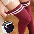 Autumn New Women Twist Vertical Striped Socks Cotton Slim Knee Socks Female College Japanese Style Pantyhose Stockings