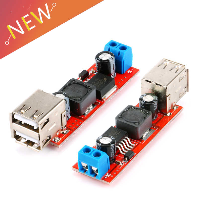 Double USB Charge 9 V/12 V/24 V/36 V untuk 5 V Mobil Charger Switch 5 V DC-DC Power Supply Modul 3A Buck Regulator