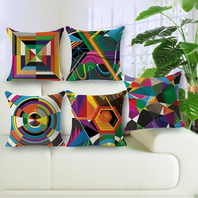 Colorido geométrico almohadas 45*45 algodón funda de cojín