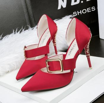 Fashion pointed word with high heel sandals female stiletto belt buckle sexy hollow red bride wedding shoes high heels
