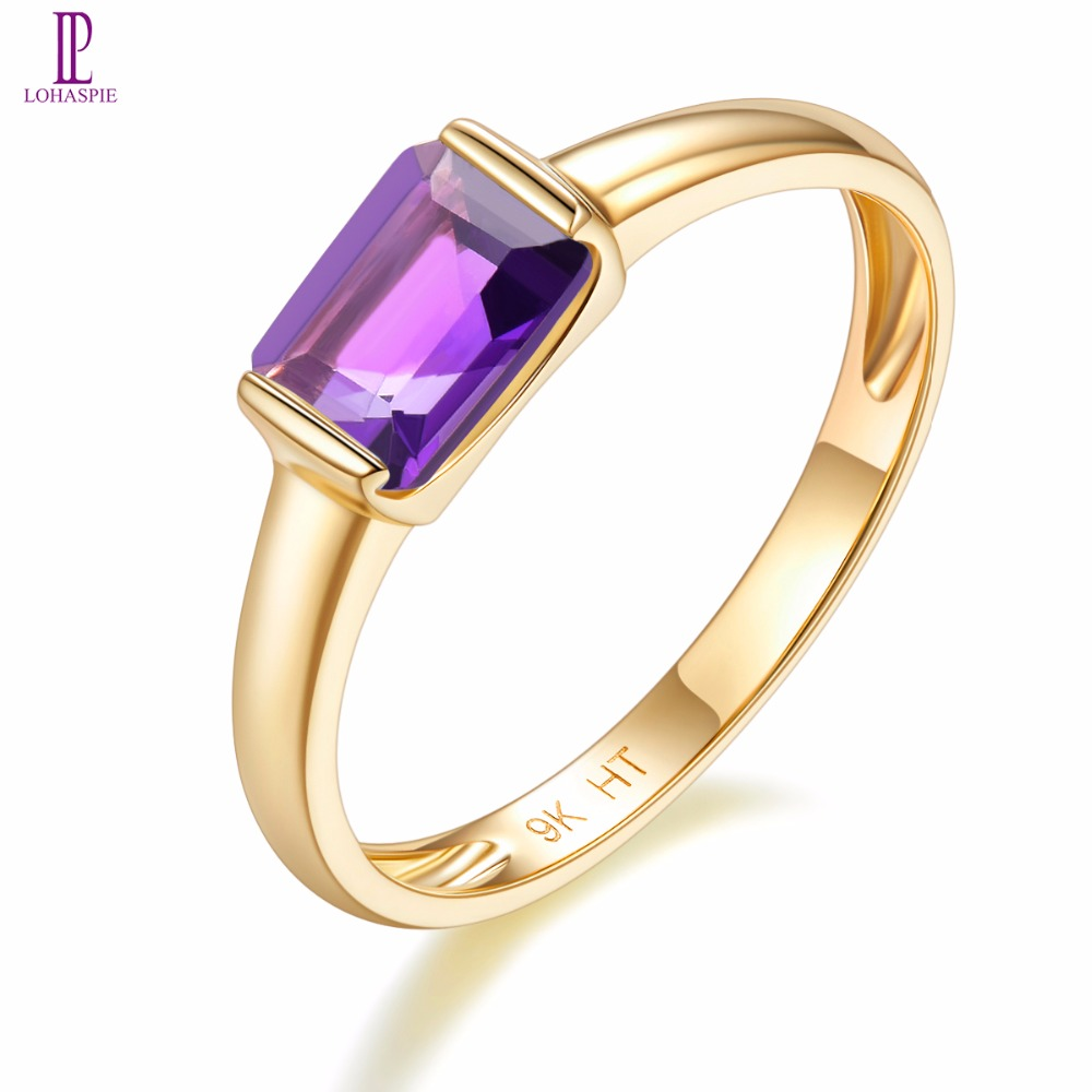 Natural Gemstone Amethyst Engagement Ring Solid 9K Yellow Gold Fine Fashion Stone Jewelry For Women's Gift New Arrival Lohaspie lohaspie ocean party natural sapphire pendant solid 9k yellow gold mother of pearl starfish fine fashion stone pearl jewelry new
